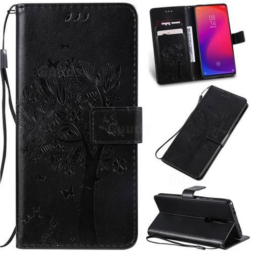 Embossing Butterfly Tree Leather Wallet Case for Xiaomi Redmi K20 / K20 Pro - Black