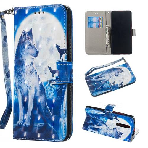 Ice Wolf 3D Painted Leather Wallet Phone Case for Xiaomi Redmi K20 / K20 Pro