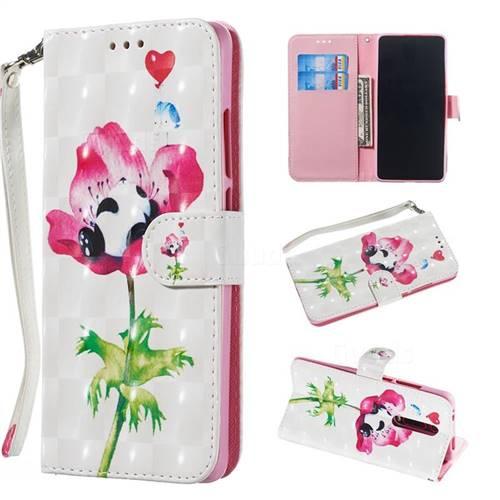 Flower Panda 3D Painted Leather Wallet Phone Case for Xiaomi Redmi K20 / K20 Pro