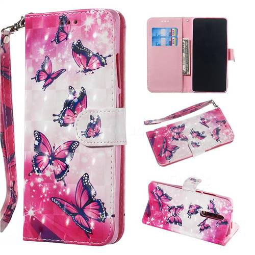 Pink Butterfly 3D Painted Leather Wallet Phone Case for Xiaomi Redmi K20 / K20 Pro