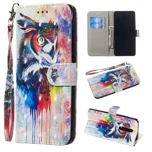 Watercolor Owl 3D Painted Leather Wallet Phone Case for Xiaomi Redmi K20 / K20 Pro