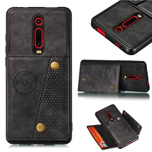 Retro Multifunction Card Slots Stand Leather Coated Phone Back Cover for Xiaomi Redmi K20 / K20 Pro - Black