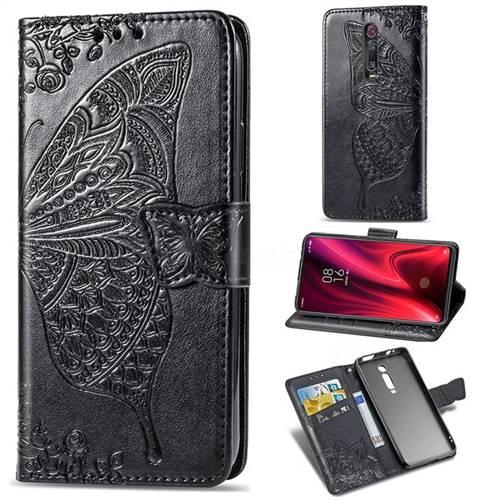 Embossing Mandala Flower Butterfly Leather Wallet Case for Xiaomi Redmi K20 / K20 Pro - Black