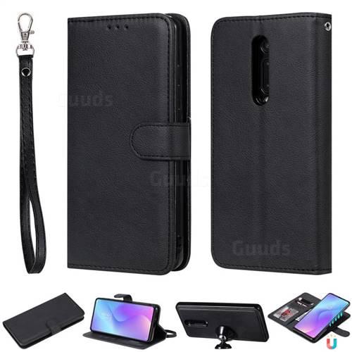 Retro Greek Detachable Magnetic PU Leather Wallet Phone Case for Xiaomi Redmi K20 / K20 Pro - Black
