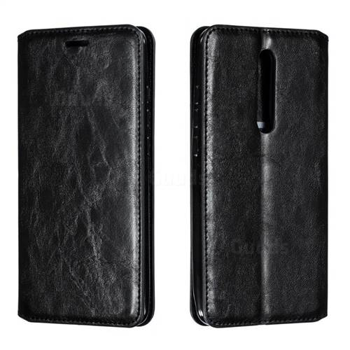 Retro Slim Magnetic Crazy Horse PU Leather Wallet Case for Xiaomi Redmi K20 / K20 Pro - Black