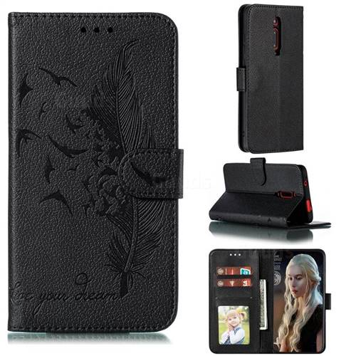 Intricate Embossing Lychee Feather Bird Leather Wallet Case for Xiaomi Redmi K20 / K20 Pro - Black