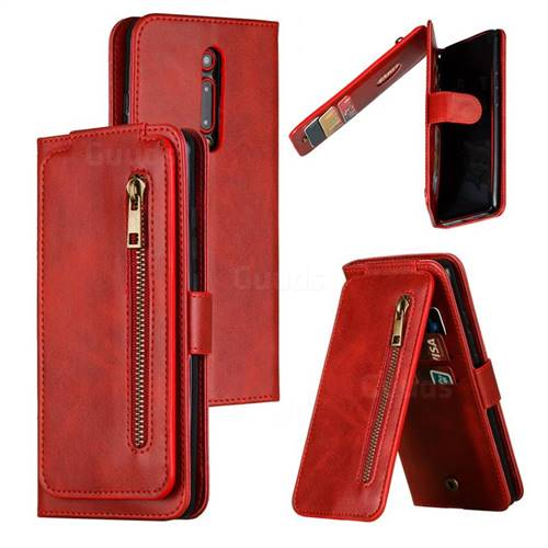 Multifunction 9 Cards Leather Zipper Wallet Phone Case for Xiaomi Redmi K20 / K20 Pro - Red