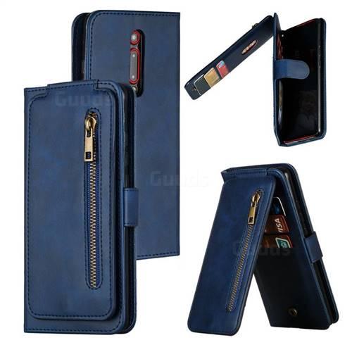 Multifunction 9 Cards Leather Zipper Wallet Phone Case for Xiaomi Redmi K20 / K20 Pro - Blue