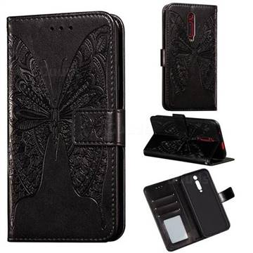 Intricate Embossing Vivid Butterfly Leather Wallet Case for Xiaomi Redmi K20 / K20 Pro - Black