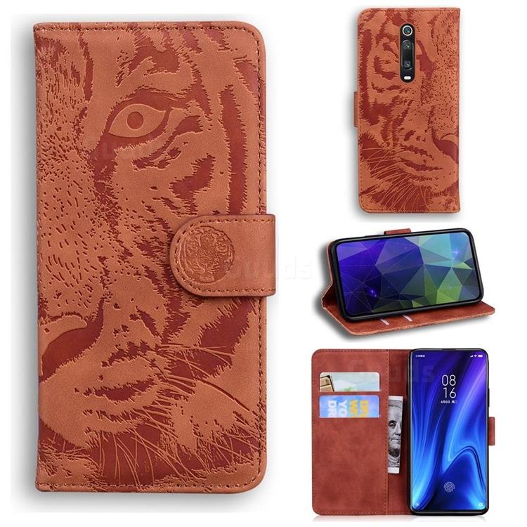 Intricate Embossing Tiger Face Leather Wallet Case for Xiaomi Redmi K20 / K20 Pro - Brown
