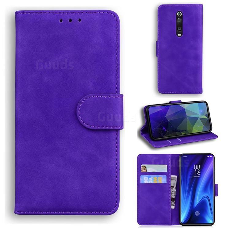 Retro Classic Skin Feel Leather Wallet Phone Case for Xiaomi Redmi K20 / K20 Pro - Purple