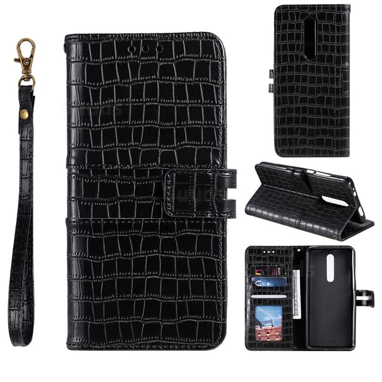 Luxury Crocodile Magnetic Leather Wallet Phone Case for Xiaomi Redmi K20 / K20 Pro - Black