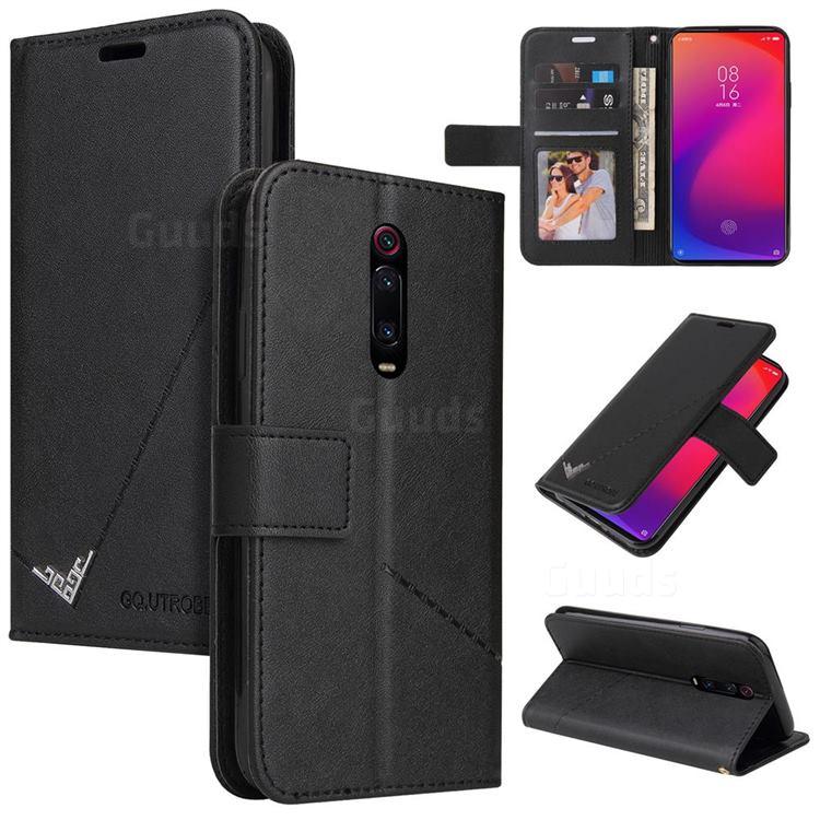 GQ.UTROBE Right Angle Silver Pendant Leather Wallet Phone Case for Xiaomi Redmi K20 / K20 Pro - Black
