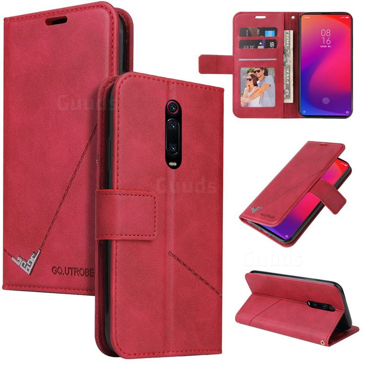 GQ.UTROBE Right Angle Silver Pendant Leather Wallet Phone Case for Xiaomi Redmi K20 / K20 Pro - Red