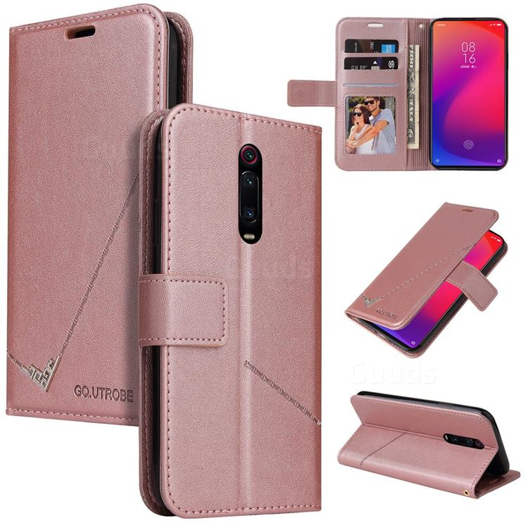 GQ.UTROBE Right Angle Silver Pendant Leather Wallet Phone Case for Xiaomi Redmi K20 / K20 Pro - Rose Gold