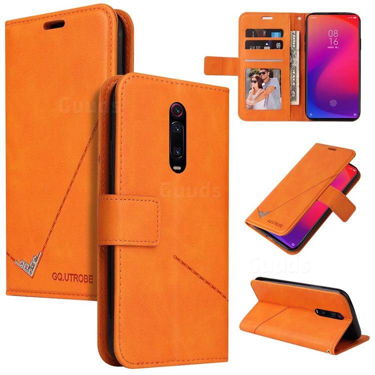 GQ.UTROBE Right Angle Silver Pendant Leather Wallet Phone Case for Xiaomi Redmi K20 / K20 Pro - Orange
