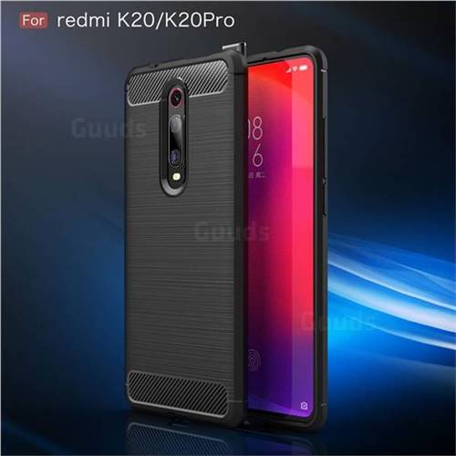 Luxury Carbon Fiber Brushed Wire Drawing Silicone TPU Back Cover for Xiaomi  Redmi K20 Pro - Black