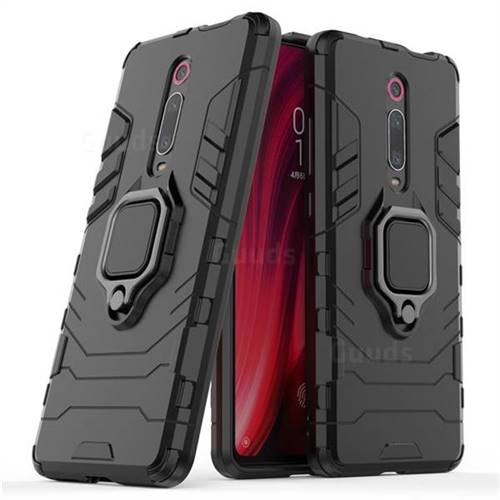 Black Panther Armor Metal Ring Grip Shockproof Dual Layer Rugged Hard Cover for Xiaomi Redmi K20 Pro - Black