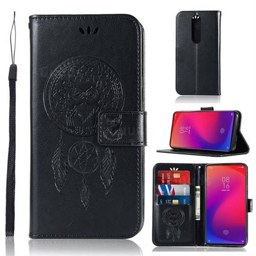 Intricate Embossing Owl Campanula Leather Wallet Case for Xiaomi Redmi K20 Pro - Black