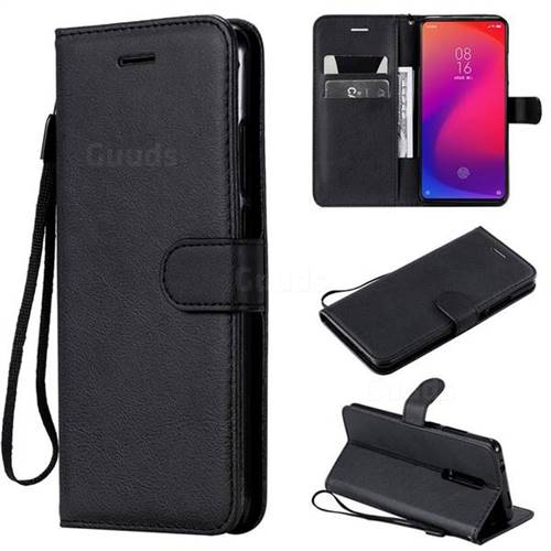 Retro Greek Classic Smooth PU Leather Wallet Phone Case for Xiaomi Redmi K20 Pro - Black