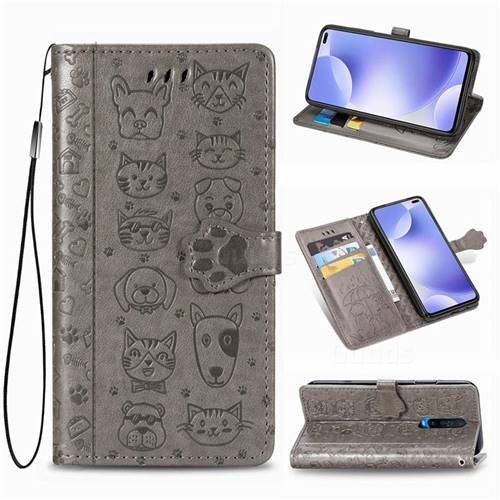Embossing Dog Paw Kitten and Puppy Leather Wallet Case for Xiaomi Redmi K30 - Gray