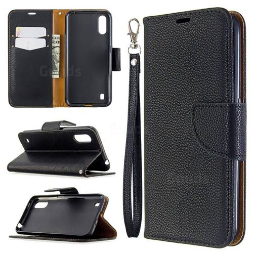 Classic Luxury Litchi Leather Phone Wallet Case for Xiaomi Redmi K30 - Black