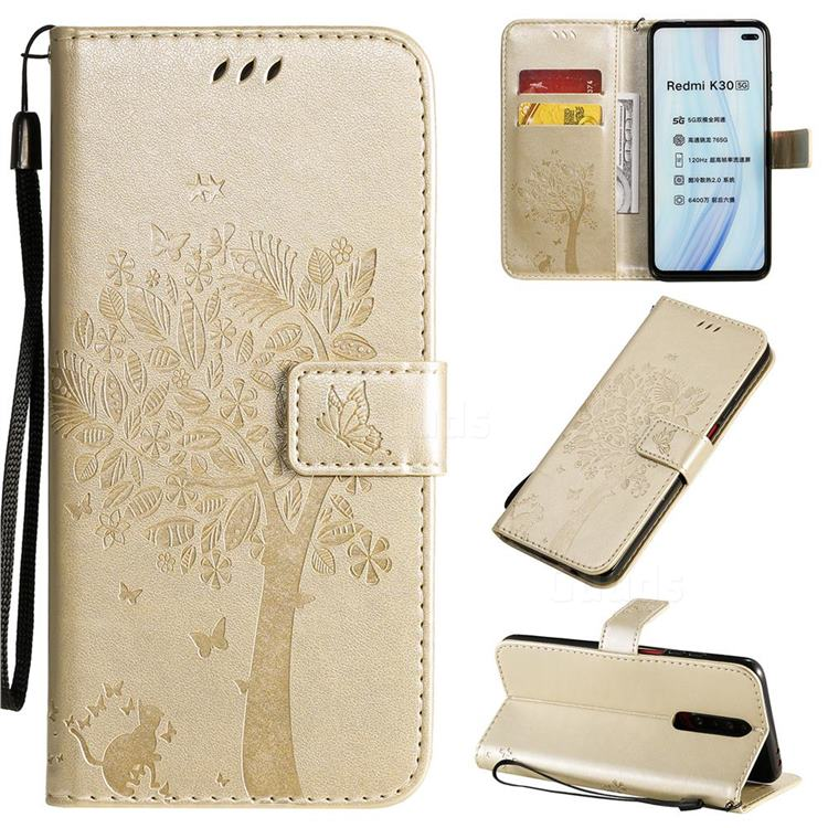 Embossing Butterfly Tree Leather Wallet Case for Xiaomi Redmi K30 - Champagne