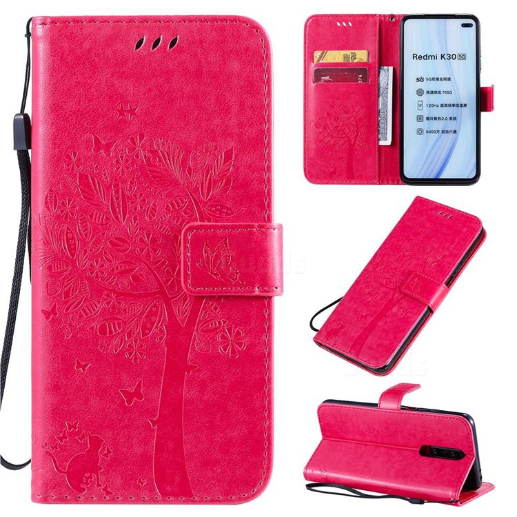 Embossing Butterfly Tree Leather Wallet Case for Xiaomi Redmi K30 - Rose