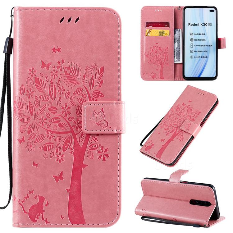 Embossing Butterfly Tree Leather Wallet Case for Xiaomi Redmi K30 - Pink