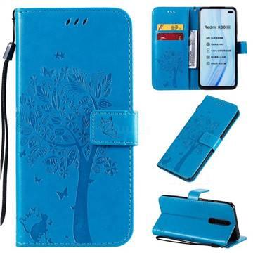 Embossing Butterfly Tree Leather Wallet Case for Xiaomi Redmi K30 - Blue