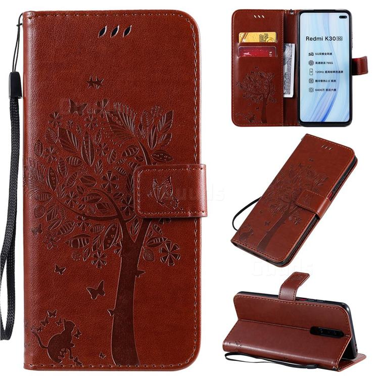 Embossing Butterfly Tree Leather Wallet Case for Xiaomi Redmi K30 - Coffee