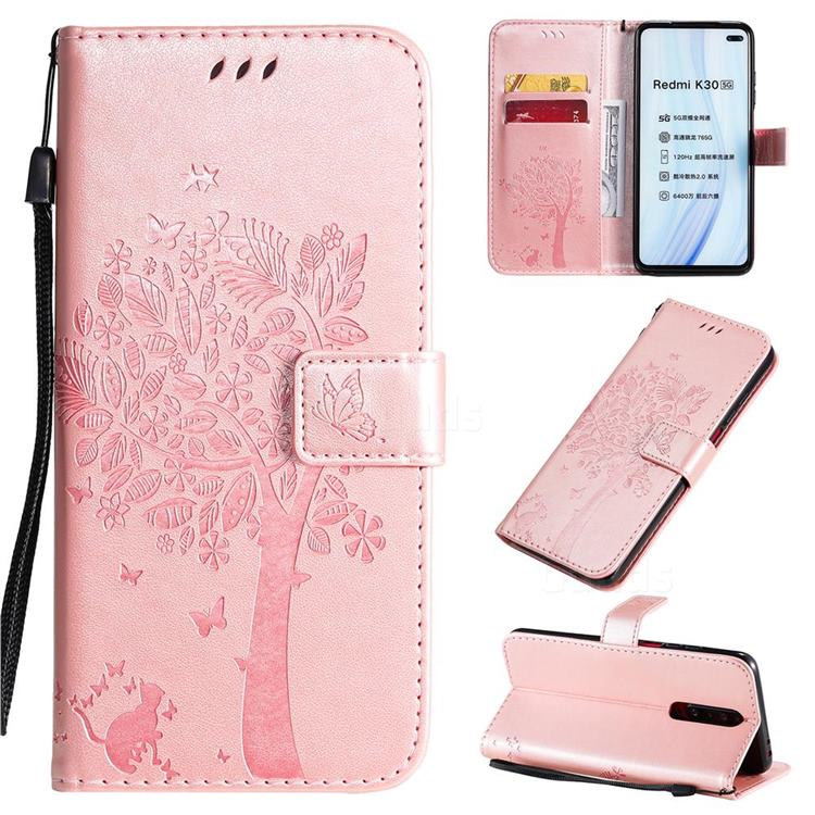 Embossing Butterfly Tree Leather Wallet Case for Xiaomi Redmi K30 - Rose Pink