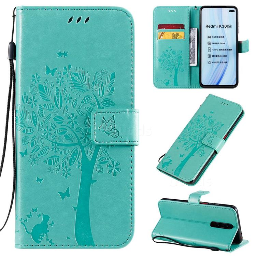 Embossing Butterfly Tree Leather Wallet Case for Xiaomi Redmi K30 - Cyan