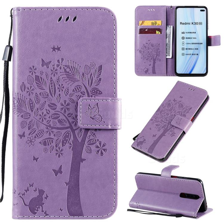 Embossing Butterfly Tree Leather Wallet Case for Xiaomi Redmi K30 - Violet
