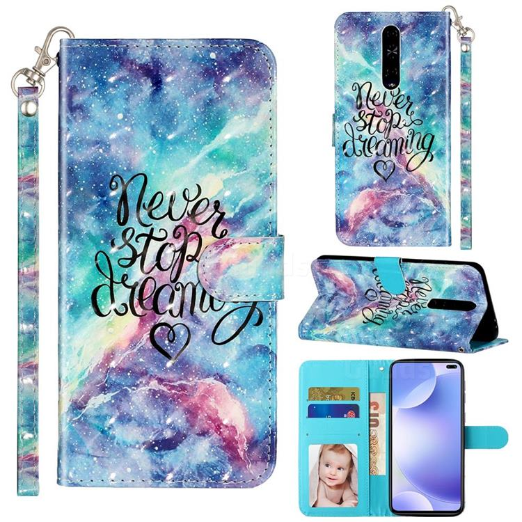 Blue Starry Sky 3D Leather Phone Holster Wallet Case for Xiaomi Redmi K30