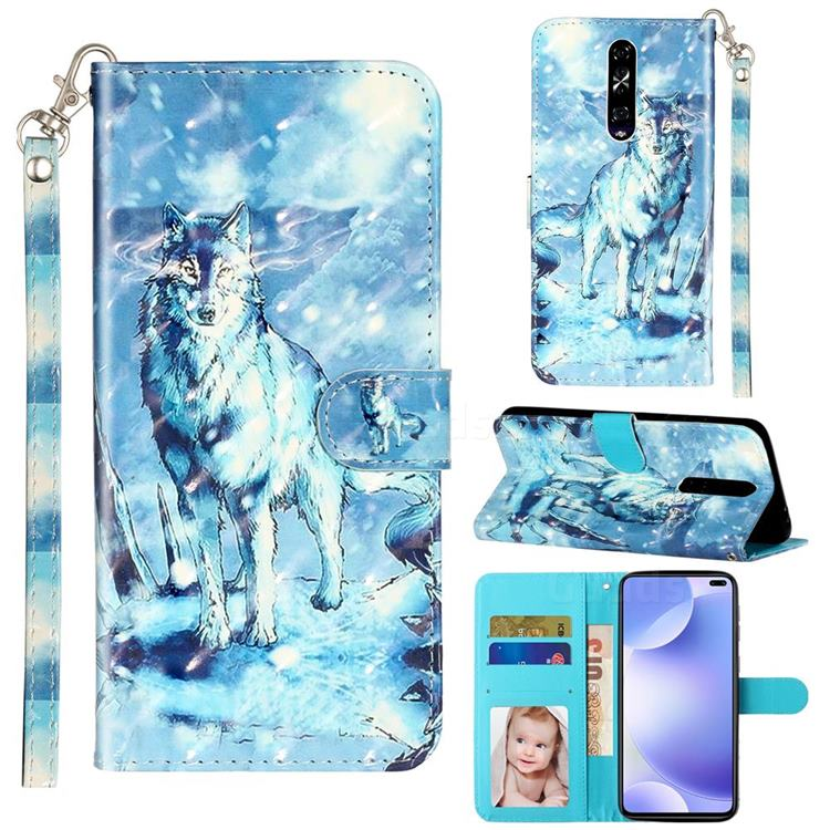 Snow Wolf 3D Leather Phone Holster Wallet Case for Xiaomi Redmi K30