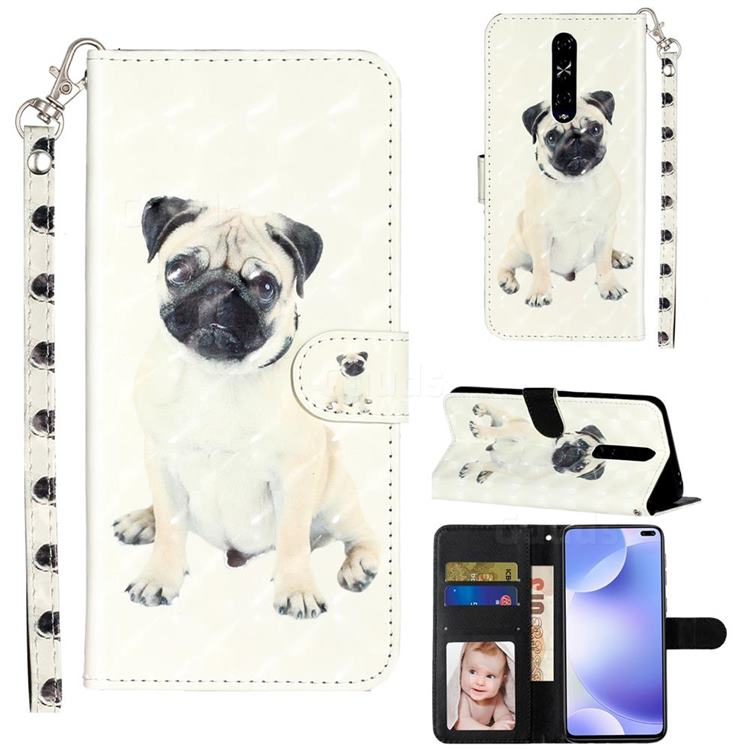 Pug Dog 3D Leather Phone Holster Wallet Case for Xiaomi Redmi K30