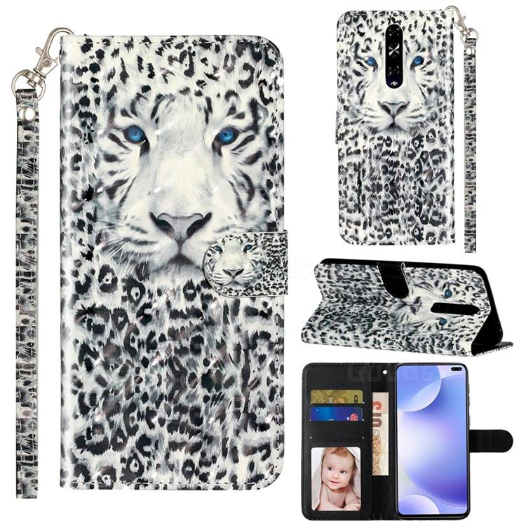 White Leopard 3D Leather Phone Holster Wallet Case for Xiaomi Redmi K30