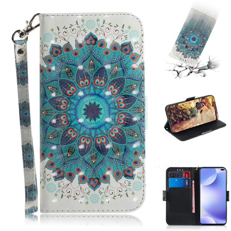 Peacock Mandala 3D Painted Leather Wallet Phone Case for Xiaomi Redmi K30