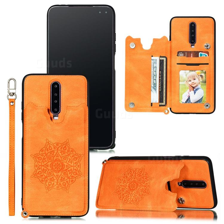 Luxury Mandala Multi-function Magnetic Card Slots Stand Leather Back Cover for Xiaomi Redmi K30 - Yellow