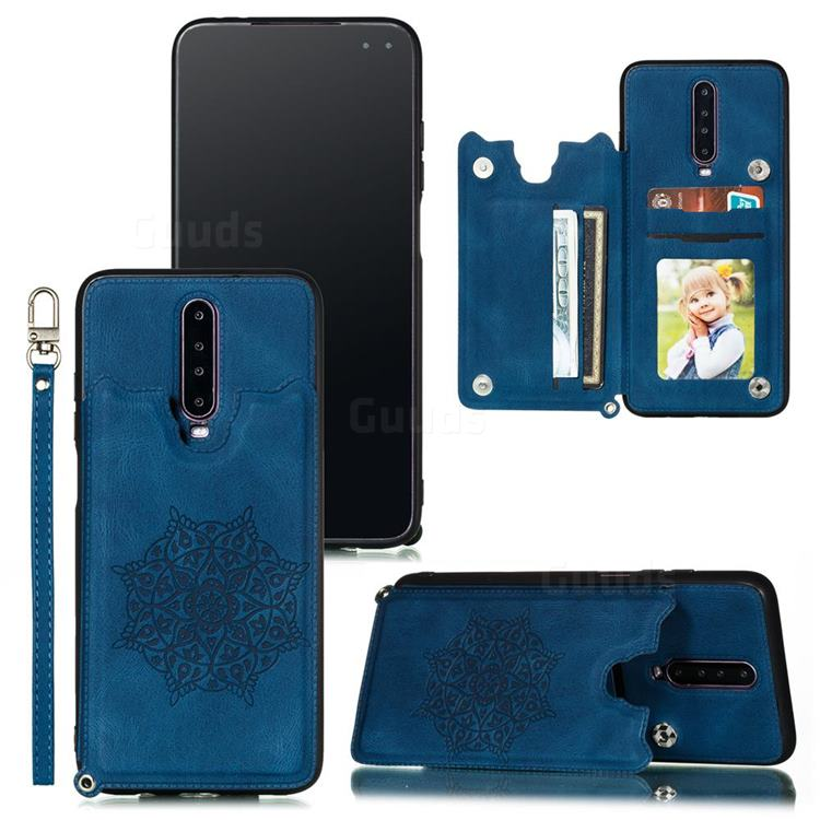 Luxury Mandala Multi-function Magnetic Card Slots Stand Leather Back Cover for Xiaomi Redmi K30 - Blue