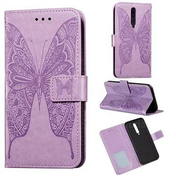 Intricate Embossing Vivid Butterfly Leather Wallet Case for Xiaomi Redmi K30 - Purple