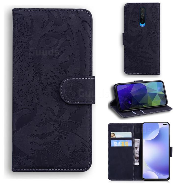 Intricate Embossing Tiger Face Leather Wallet Case for Xiaomi Redmi K30 - Black