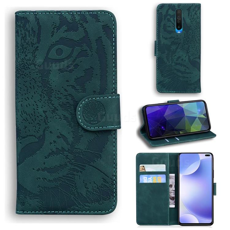 Intricate Embossing Tiger Face Leather Wallet Case for Xiaomi Redmi K30 - Green