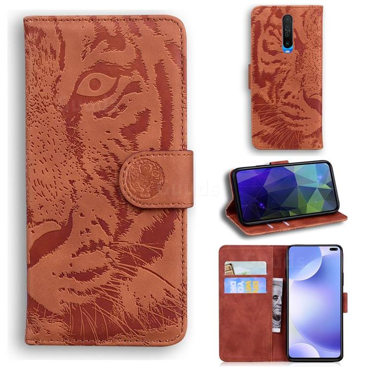 Intricate Embossing Tiger Face Leather Wallet Case for Xiaomi Redmi K30 - Brown