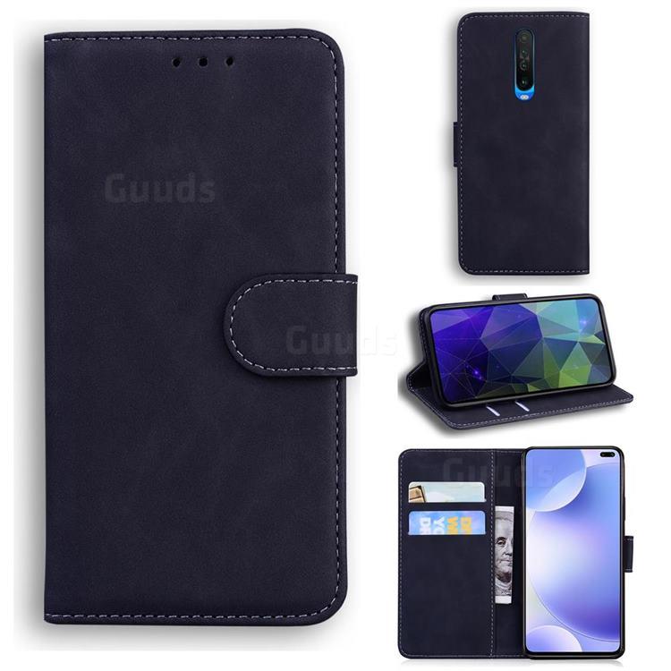 Retro Classic Skin Feel Leather Wallet Phone Case for Xiaomi Redmi K30 - Black
