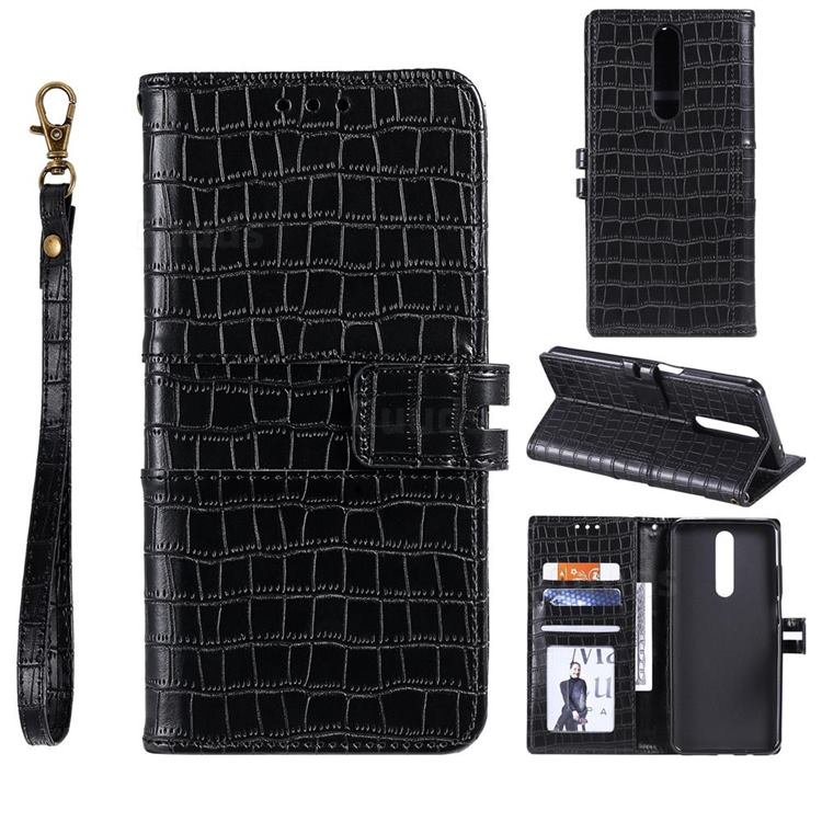 Luxury Crocodile Magnetic Leather Wallet Phone Case for Xiaomi Redmi K30 - Black