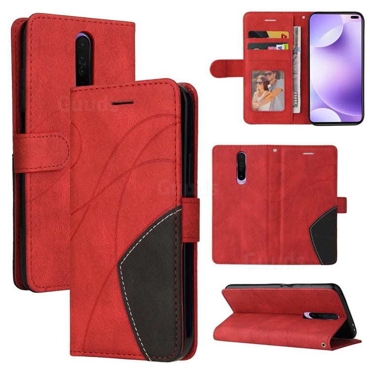 Luxury Two-color Stitching Leather Wallet Case Cover for Xiaomi Redmi K30 - Red
