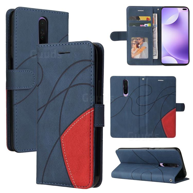 Luxury Two-color Stitching Leather Wallet Case Cover for Xiaomi Redmi K30 - Blue