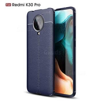 Luxury Auto Focus Litchi Texture Silicone TPU Back Cover for Xiaomi Redmi K30 Pro - Dark Blue